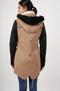Contrast PU Sleeve Parka Coat in Camel Brown 3