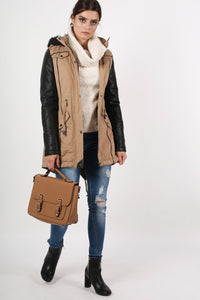 Contrast PU Sleeve Parka Coat in Camel Brown 4