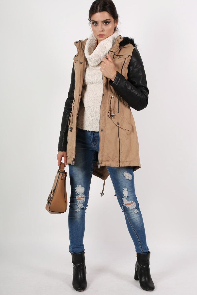 Contrast PU Sleeve Parka Coat in Camel Brown 5