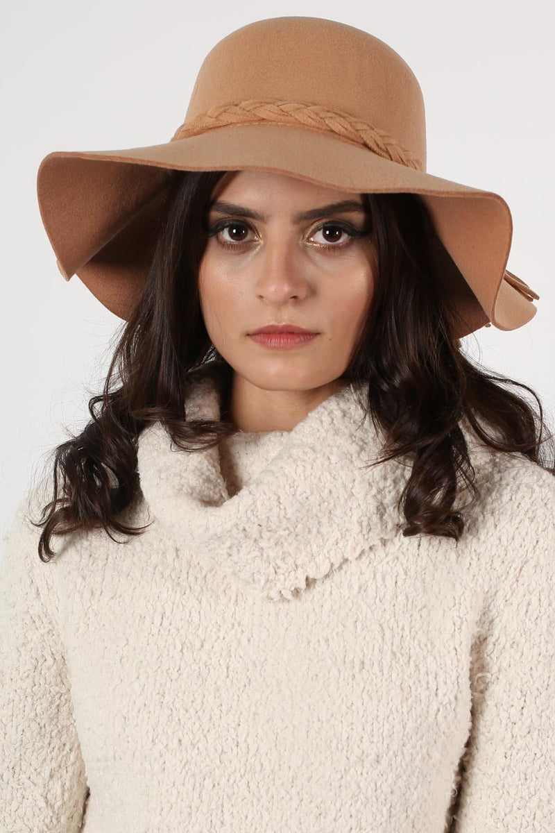 Floppy Plait Detail Self Band Hat in Tan Brown 0