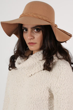 Floppy Plait Detail Self Band Hat in Tan Brown 1