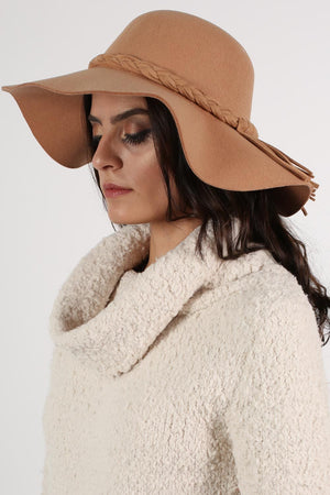 Floppy Plait Detail Self Band Hat in Tan Brown 2
