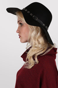 Floppy Hat With PU Eyelet Band in Black 0