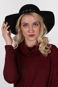 Floppy Hat With PU Eyelet Band in Black 3