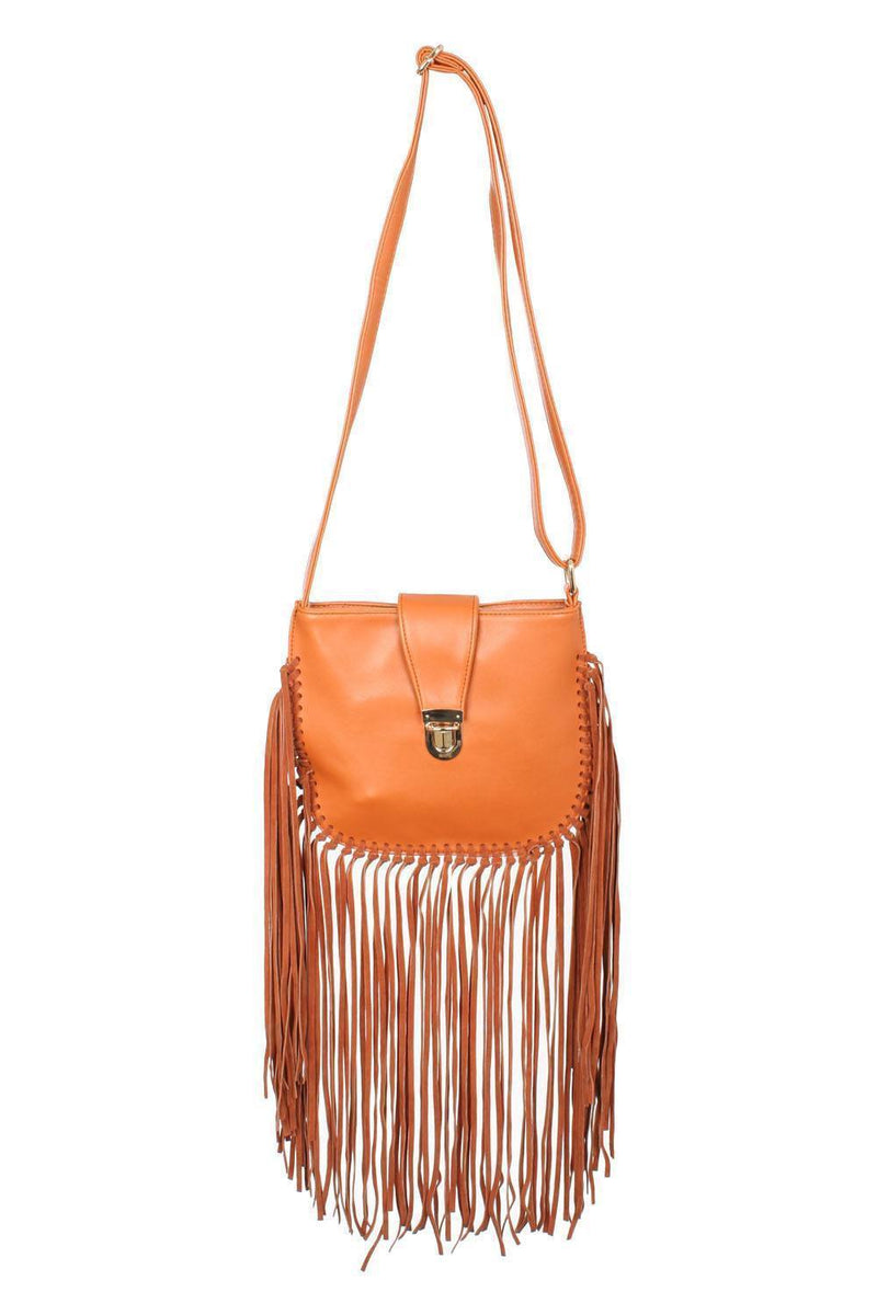 Fringe Cross Body Bag in Tan Brown 2