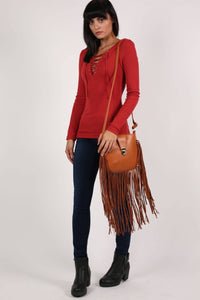 Fringe Cross Body Bag in Tan Brown 3