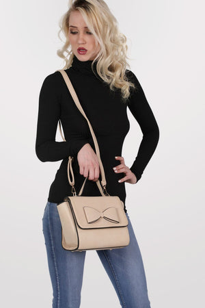 Bow Detail Winged Tote Bag in Beige 4