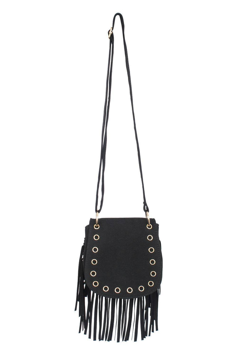 Fringed Cross Body Eyelet Saddle Bag in Black 2
