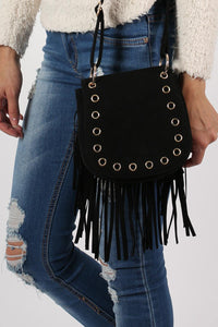 Fringed Cross Body Eyelet Saddle Bag in Black 1