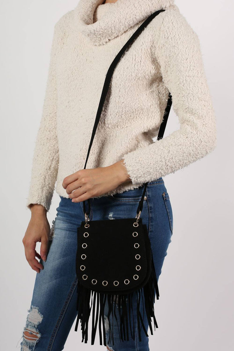 Fringed Cross Body Eyelet Saddle Bag in Black 3
