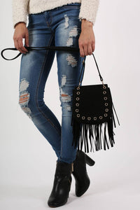 Fringed Cross Body Eyelet Saddle Bag in Black 4