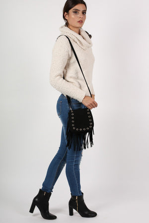 Fringed Cross Body Eyelet Saddle Bag in Black 5