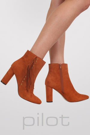Fringe Stud Detail Ankle Boots in Tan Brown 1