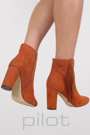 Fringe Stud Detail Ankle Boots in Tan Brown 2
