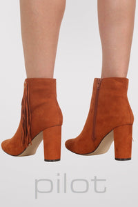 Fringe Stud Detail Ankle Boots in Tan Brown 3