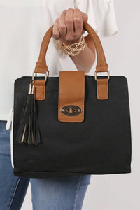 Colour Block Structured Bag in Black 1