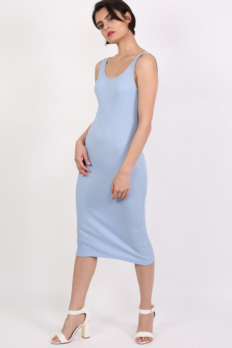 Sleeveless Ribbed Midi Dress in Pale Blue 0
