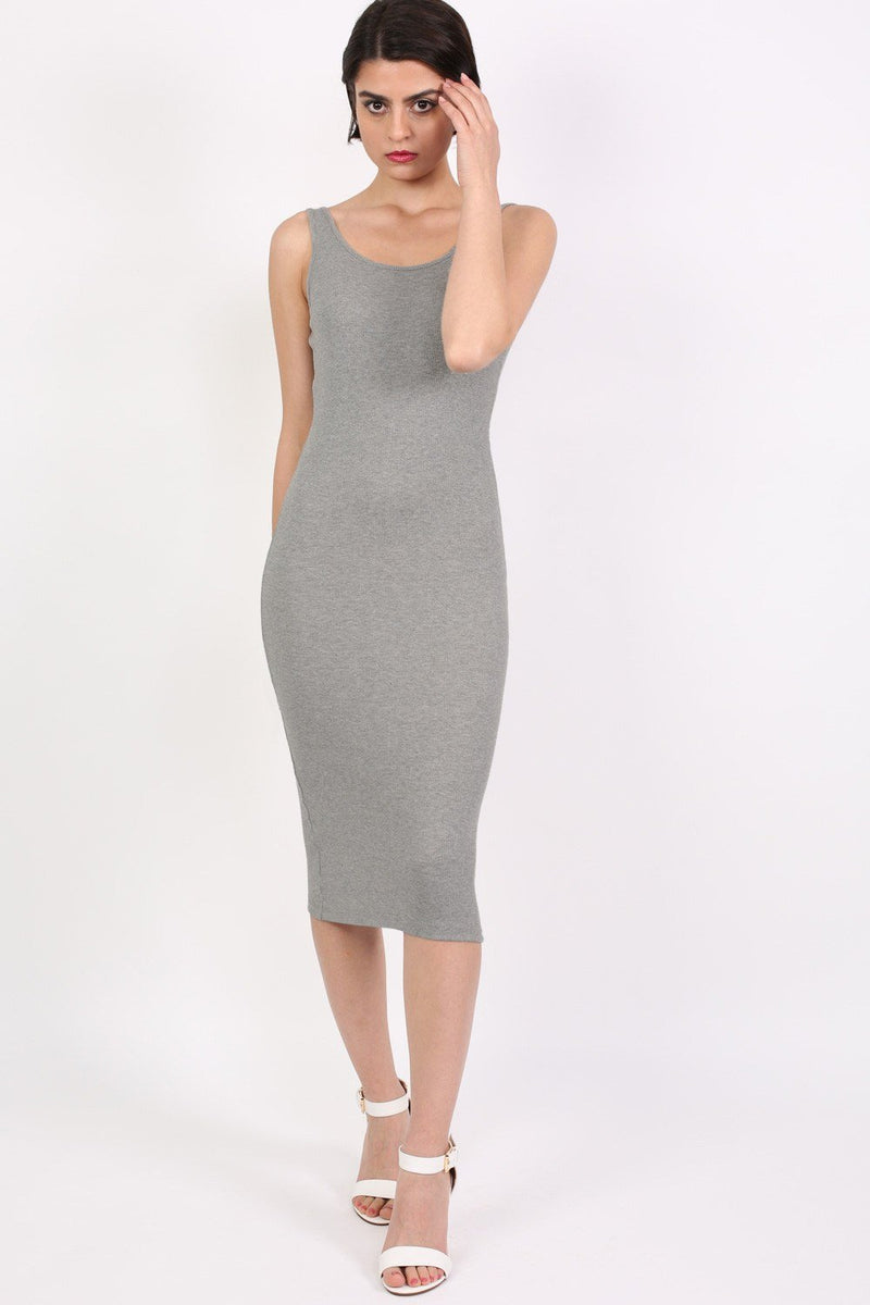 Sleeveless Ribbed Midi Dress in Grey 0