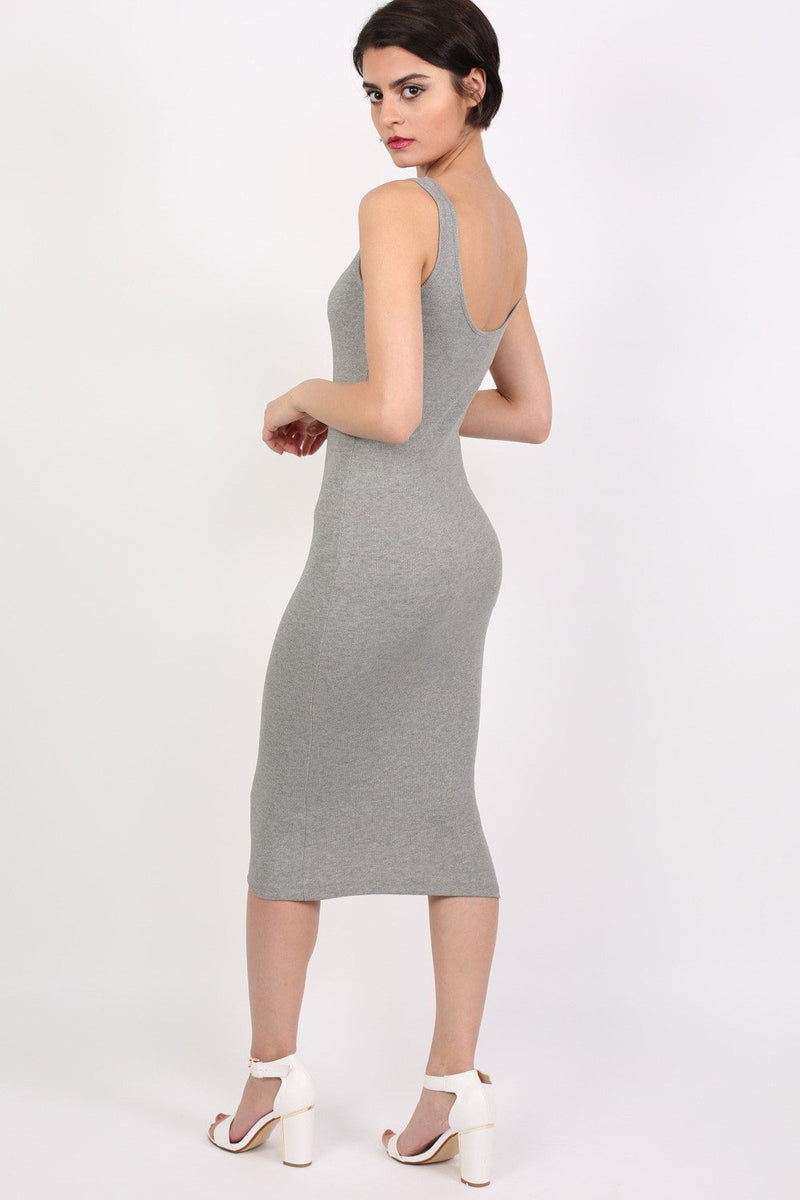 Sleeveless Ribbed Midi Dress in Grey 1