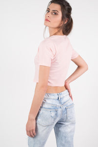 Lace Up Front Crop T-Shirt in Peach 3