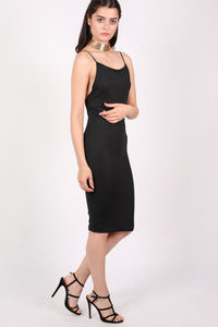 Low Back Strappy Crepe Midi Dress in Black 3