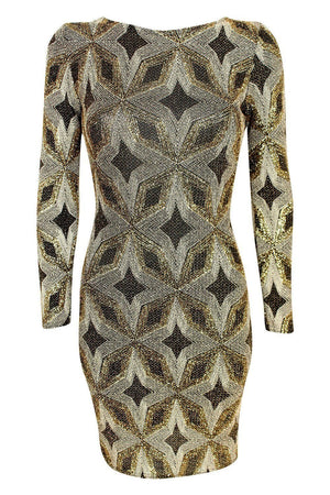 Metallic Print Cross Back Long Sleeve Bodycon Dress in Gold 2