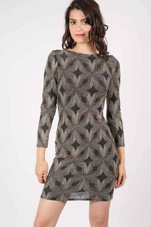 Metallic Print Cross Back Long Sleeve Bodycon Dress in Gold 1