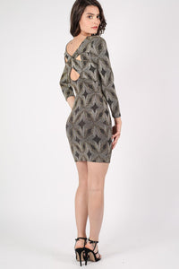 Metallic Print Cross Back Long Sleeve Bodycon Dress in Gold 4