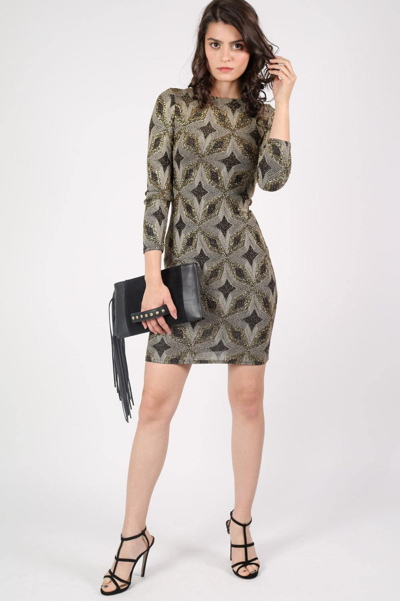 Metallic Print Cross Back Long Sleeve Bodycon Dress in Gold 5