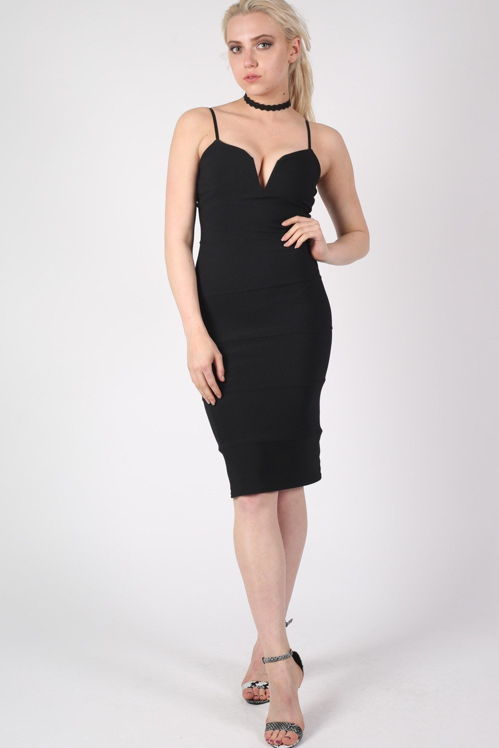 V Front Bandage Midi Dress in Black 0