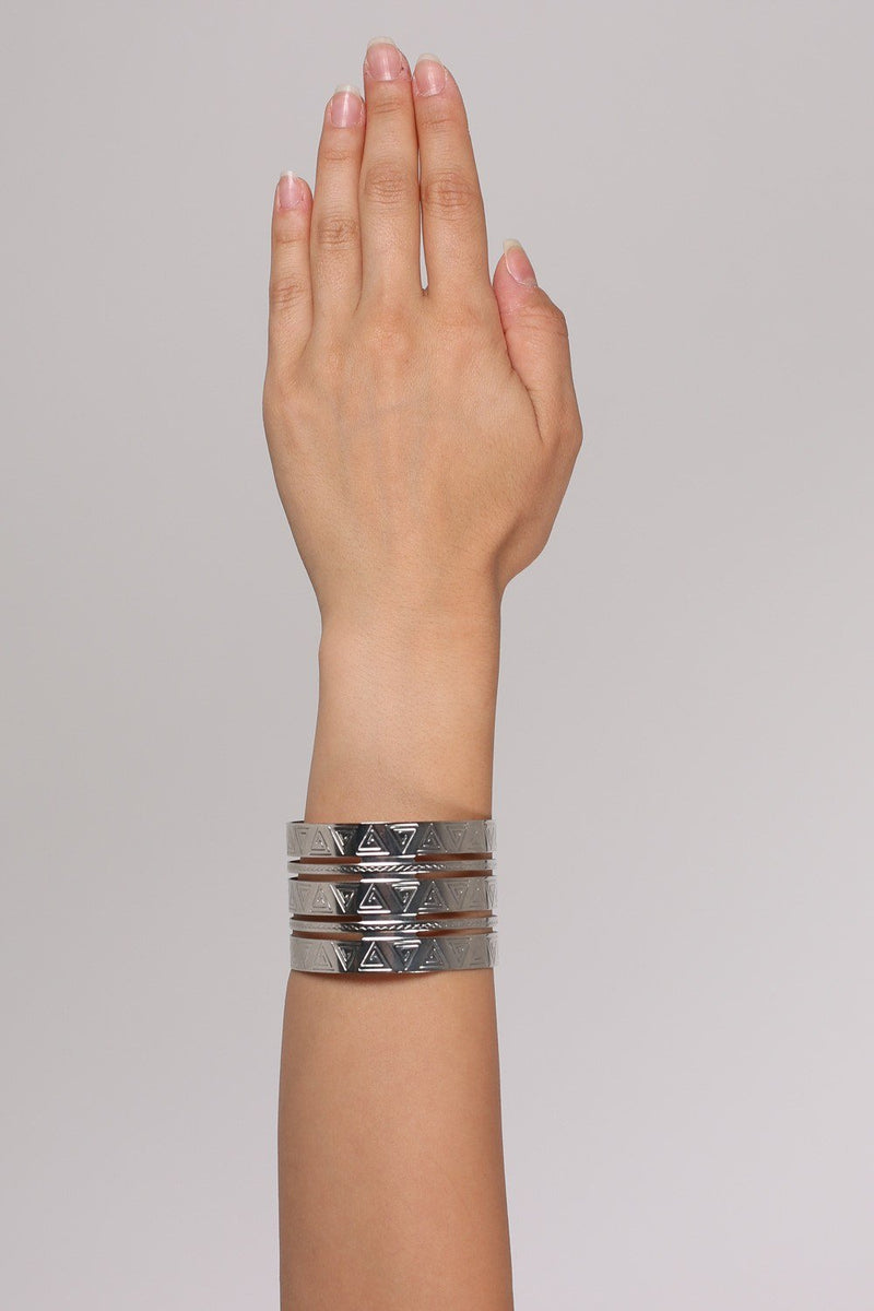 Cut Out Detail Aztec Cuff Bracelet in Silver 0