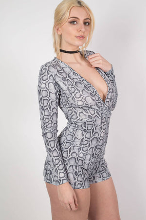Snake Print Wrap Front Playsuit in Grey 1