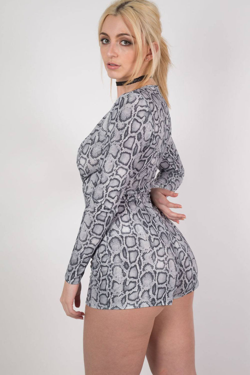 Snake Print Wrap Front Playsuit in Grey 2