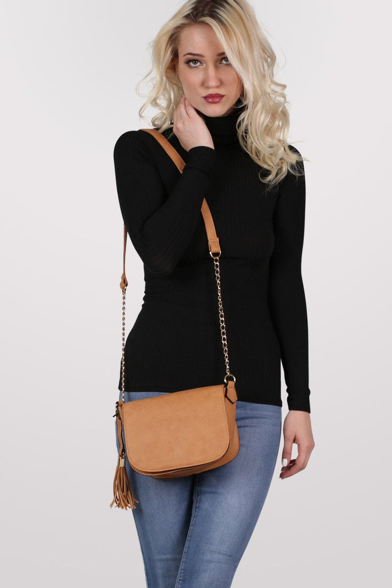 Tassel Detail Saddle Shoulder Bag in Tan Brown 0