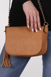 Tassel Detail Saddle Shoulder Bag in Tan Brown 1