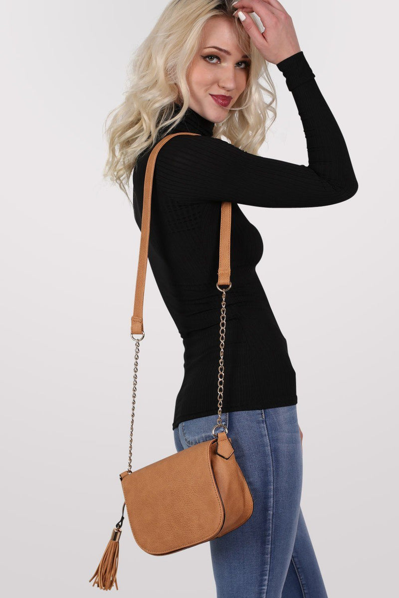 Tassel Detail Saddle Shoulder Bag in Tan Brown 3