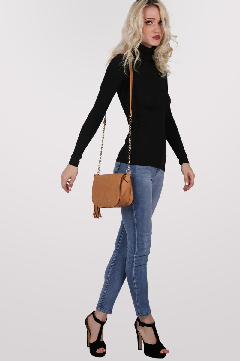 Tassel Detail Saddle Shoulder Bag in Tan Brown 4