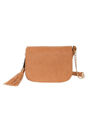 Tassel Detail Saddle Shoulder Bag in Tan Brown 2