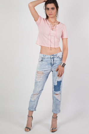 Cropped High Waisted Ripped and Patch Mom Jeans in Denim 0