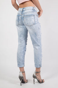 Cropped High Waisted Ripped and Patch Mom Jeans in Denim 3