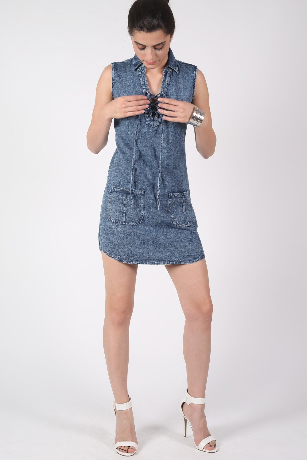 Lace Up Front Shift Denim Dress 0