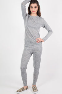 Loungewear Crew Neck Top in Grey 3