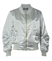 Luxe Satin Bomber Jacket in Silver 2