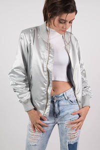 Luxe Satin Bomber Jacket in Silver 1
