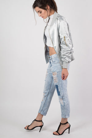 Luxe Satin Bomber Jacket in Silver 4