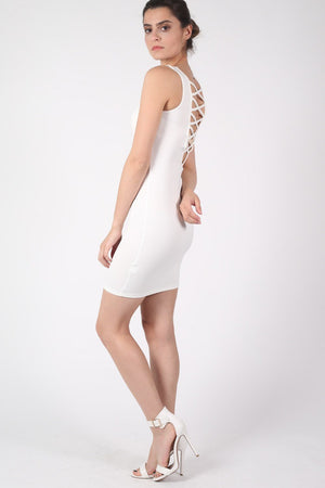 Criss Cross Back Bodycon Dress in Ivory White 2