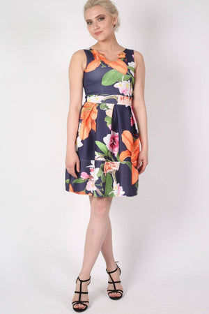 Tropical Flower Print Skater Dress in Navy Blue 0