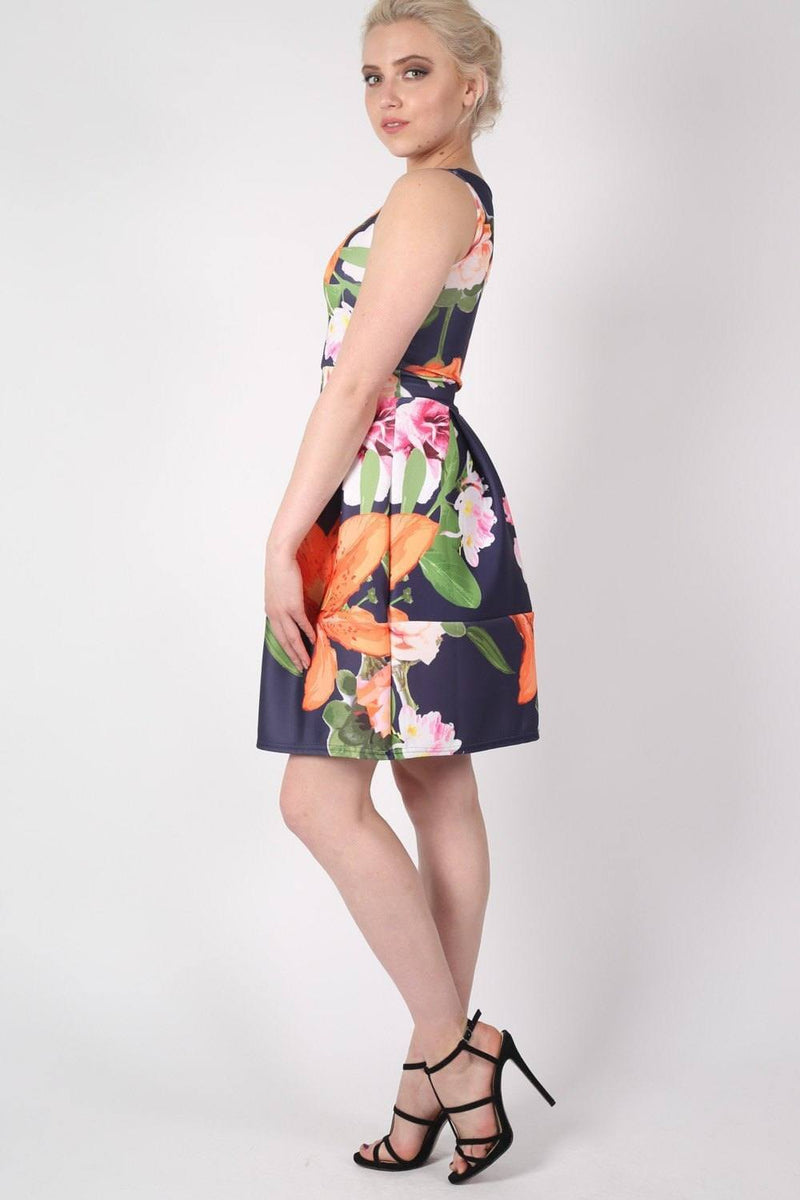Tropical Flower Print Skater Dress in Navy Blue 1