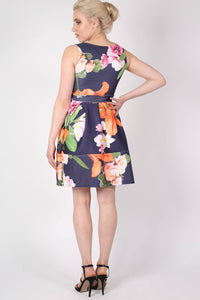Tropical Flower Print Skater Dress in Navy Blue 2