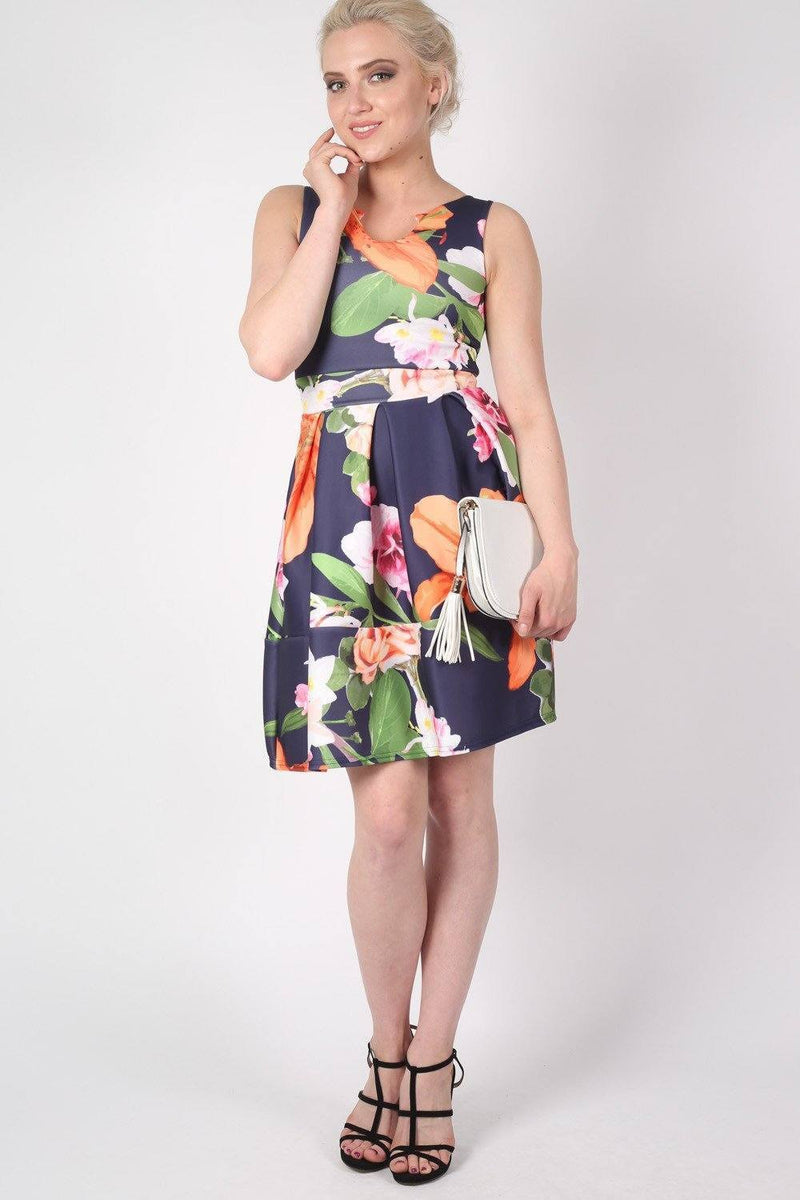 Tropical Flower Print Skater Dress in Navy Blue 3